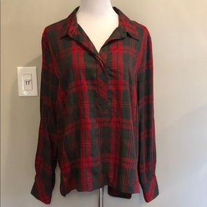 Cabi Red Charcoal Gray Plaid Tunic XL